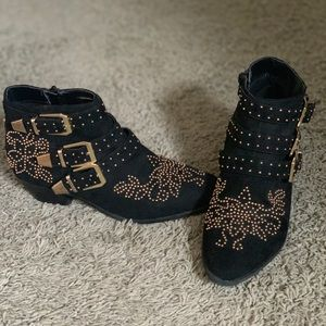 Topshop booties with golden studs and buckles